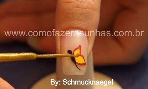unhas decoradas com borboletas passo 6.0