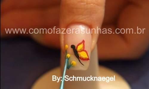unhas decoradas com borboletas passo 7.5