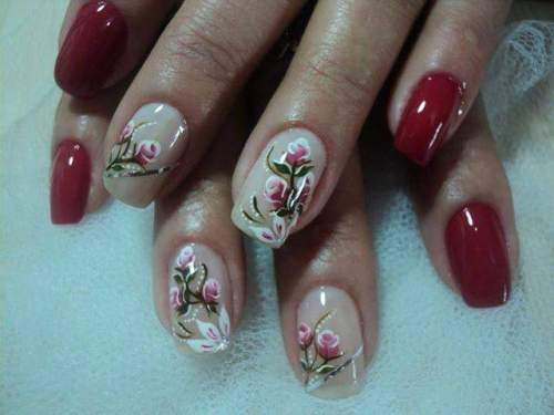 unhas decoradas com rosas - 06