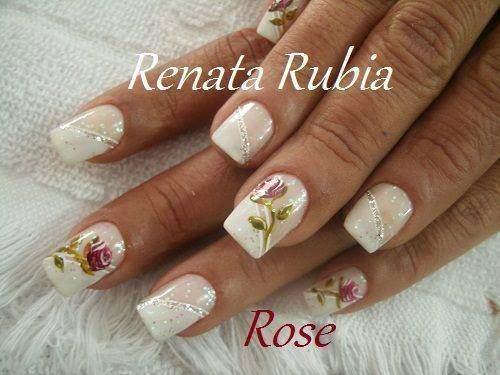 unhas decoradas com rosas - 07