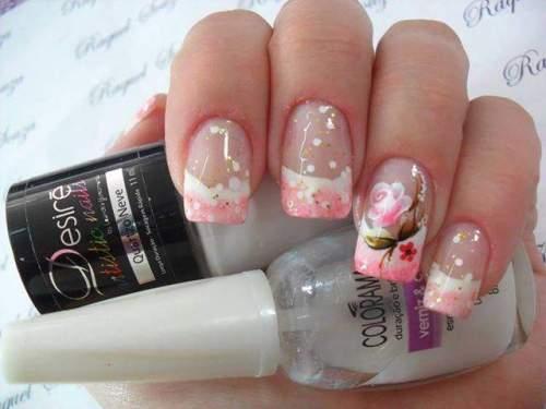 unhas decoradas com rosas - 10