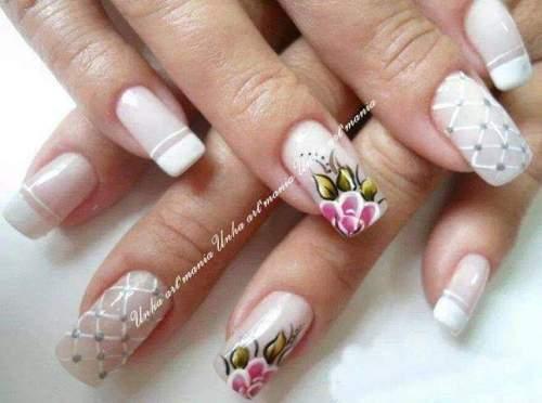 unhas decoradas com rosas - 11