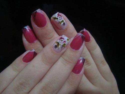 unhas decoradas com rosas - 22