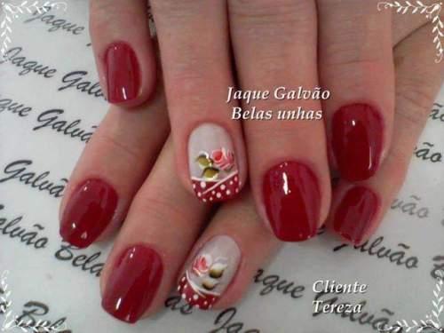 unhas decoradas com rosas - 23