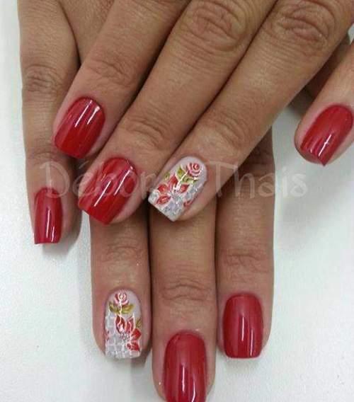 unhas decoradas com rosas - 27