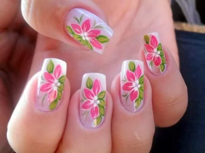 Como fazer unhas decoradas com flores - Passo a Passo 16