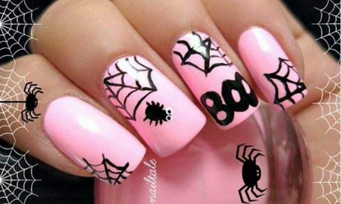 Unhas decoradas para o Halloween - aranha 04