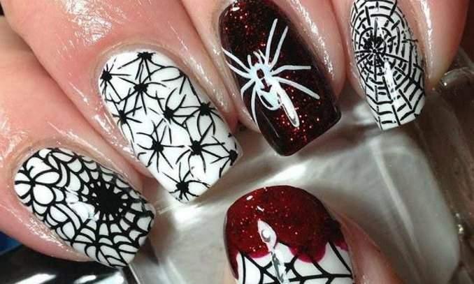 Unha decorada para o Halloween - aranha 05