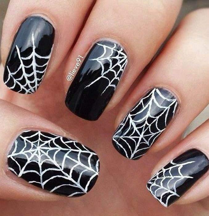 Unha decorada para o Halloween - aranha 06
