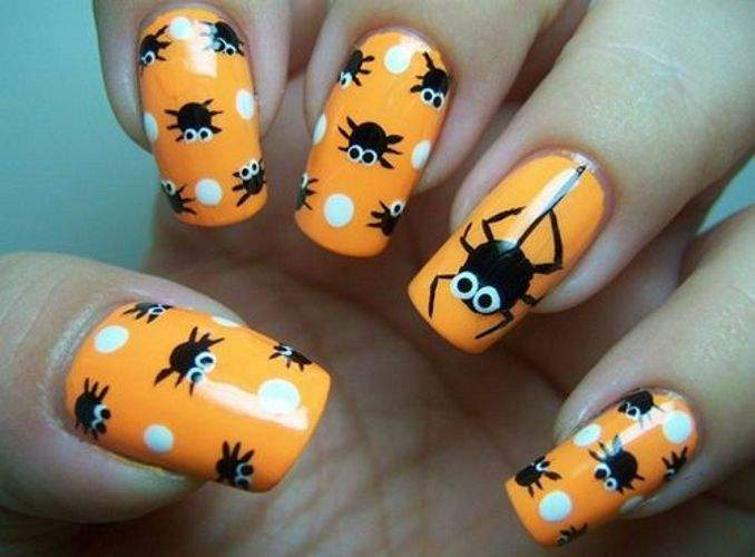 Unhas decoradas para o Halloween - aranha 07