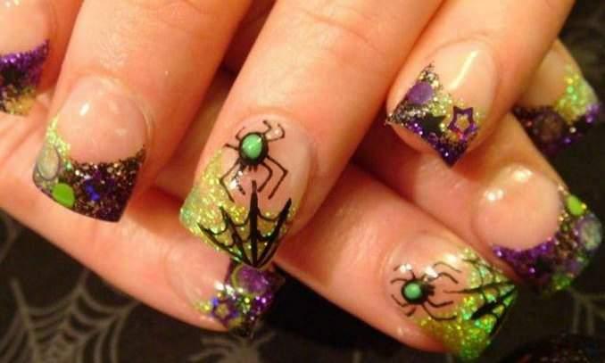Unha decorada para o Halloween - aranha 08