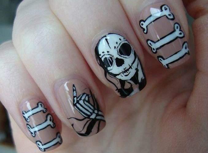 Unha decorada para o Halloween - esqueleto 05
