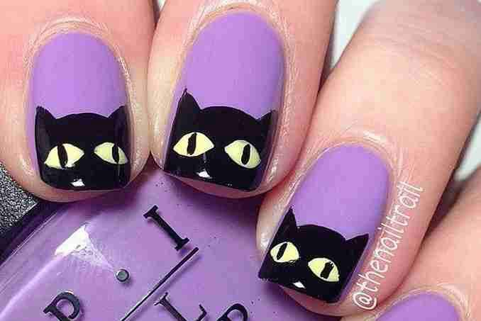 Unha decorada para o Halloween - gato preto 01