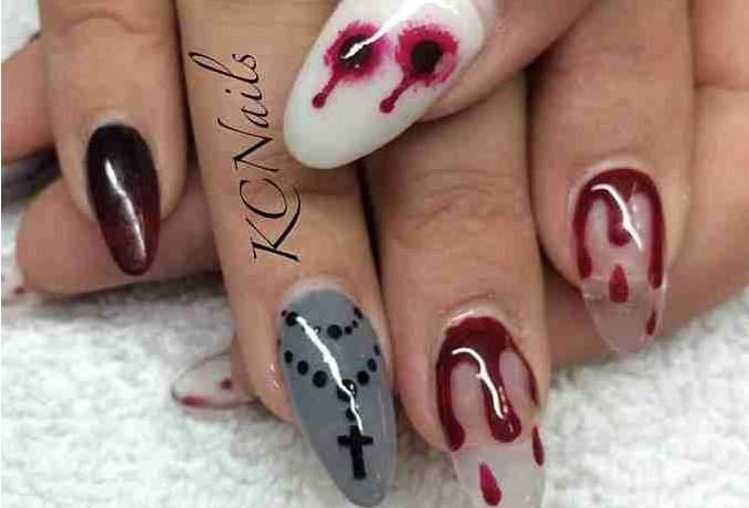 Unha decorada para o Halloween - sangue 01